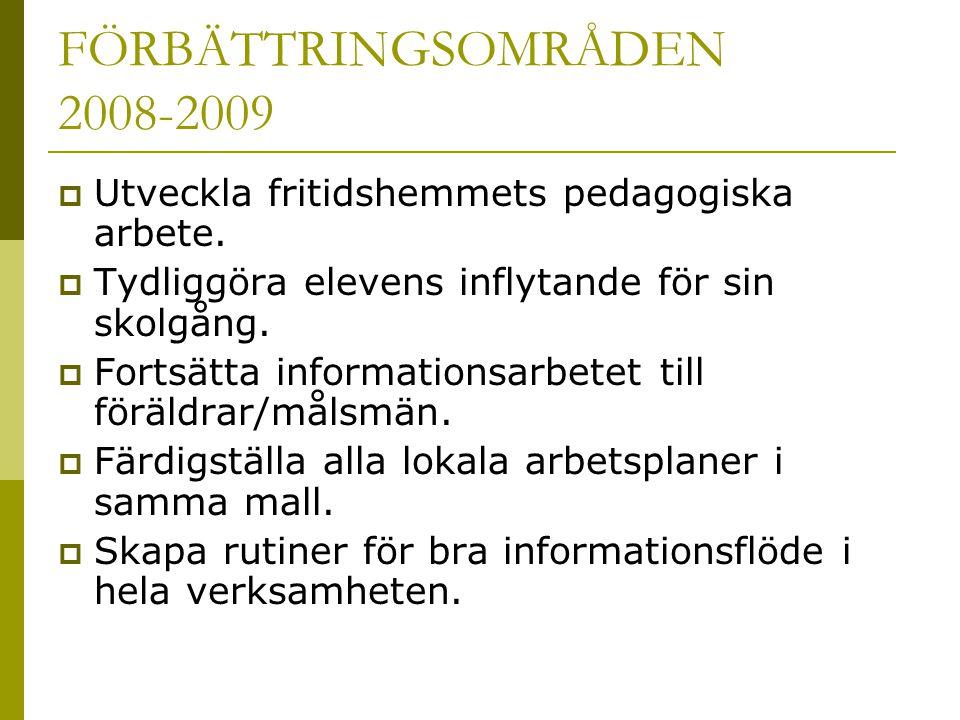 FÖRBÄTTRINGSOMRÅDEN 2008-2009