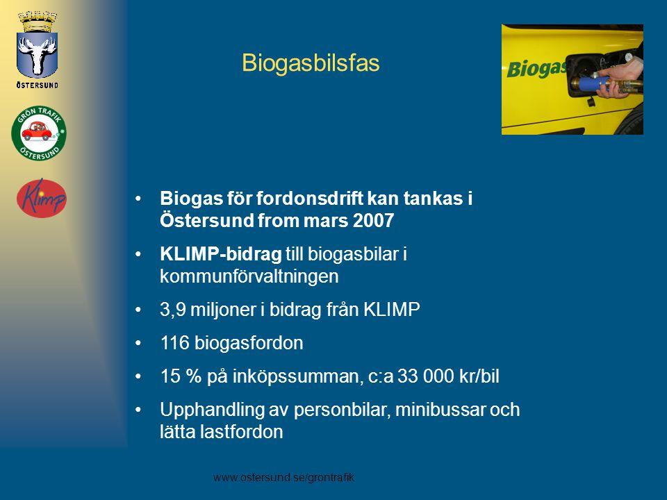 Biogasbilsfas Biogas för fordonsdrift kan tankas i Östersund from mars 2007. KLIMP-bidrag till biogasbilar i kommunförvaltningen.