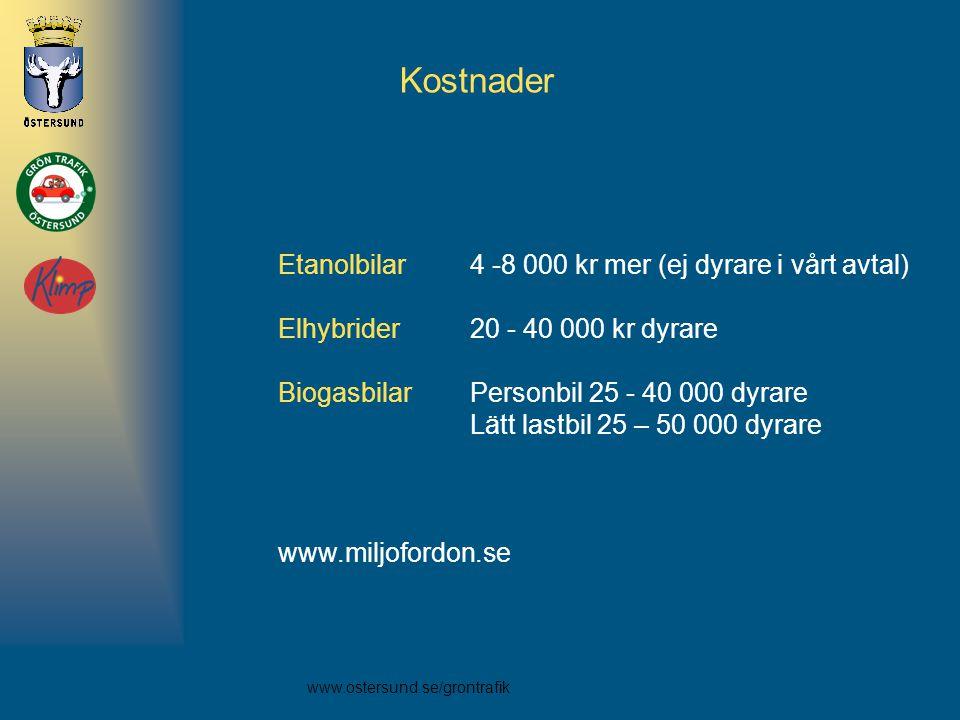 Kostnader Etanolbilar 4 -8 000 kr mer (ej dyrare i vårt avtal)