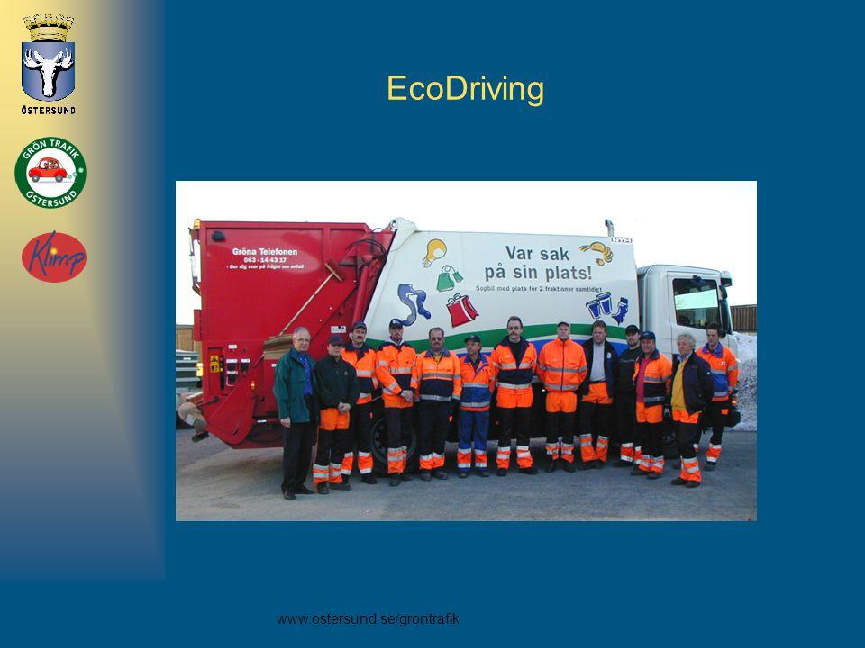 EcoDriving Anne, C:A 480 förare har utbildats ikommunen. Tidigt ute 2001 och utbildade 400 förare. Ingen mätningar före annat än hos Renhållningen.