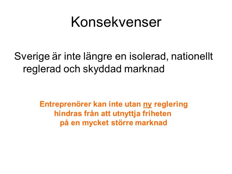 Konsekvenser Sverige är inte längre en isolerad, nationellt reglerad och skyddad marknad. Entreprenörer kan inte utan ny reglering.
