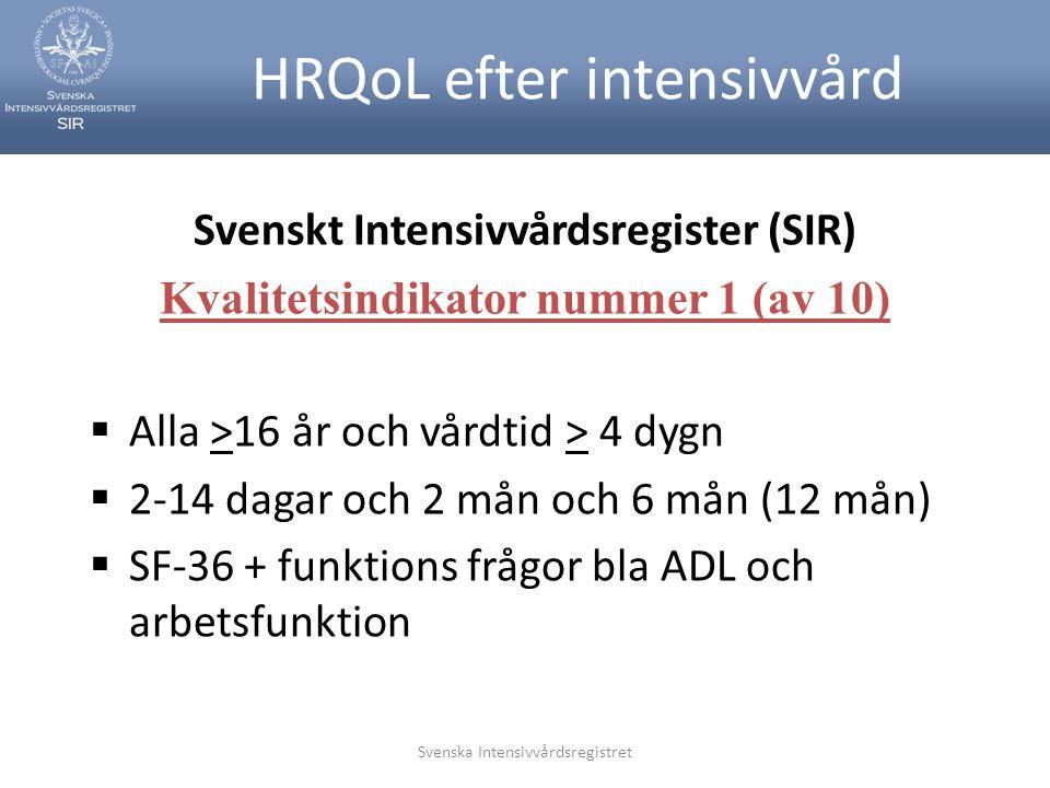 HRQoL efter intensivvård
