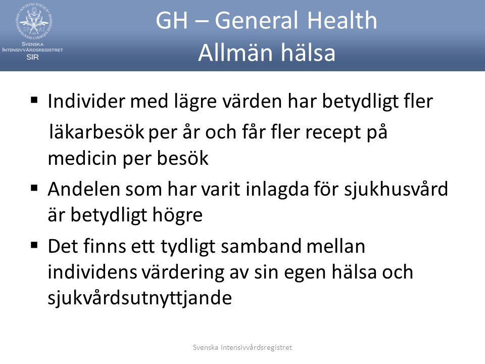 GH – General Health Allmän hälsa