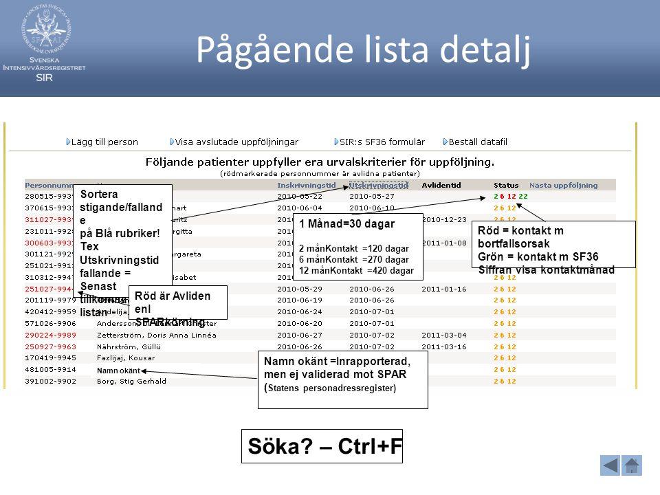 Pågående lista detalj Söka – Ctrl+F Sortera stigande/fallande