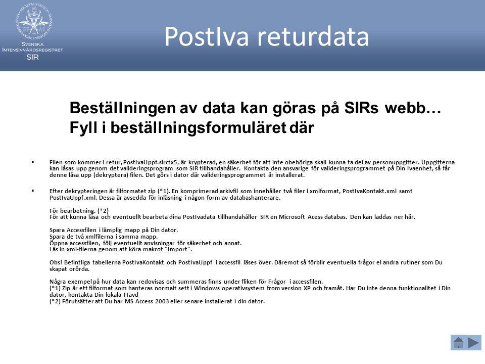 PostIva returdata Beställningen av data kan göras på SIRs webb…