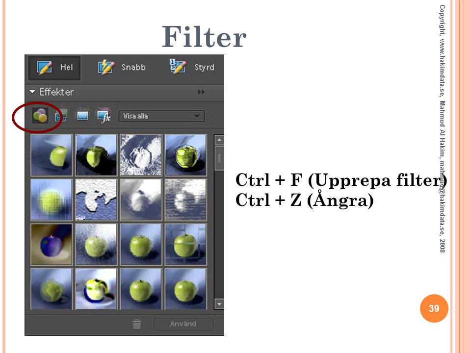 Filter Ctrl + F (Upprepa filter) Ctrl + Z (Ångra) 39