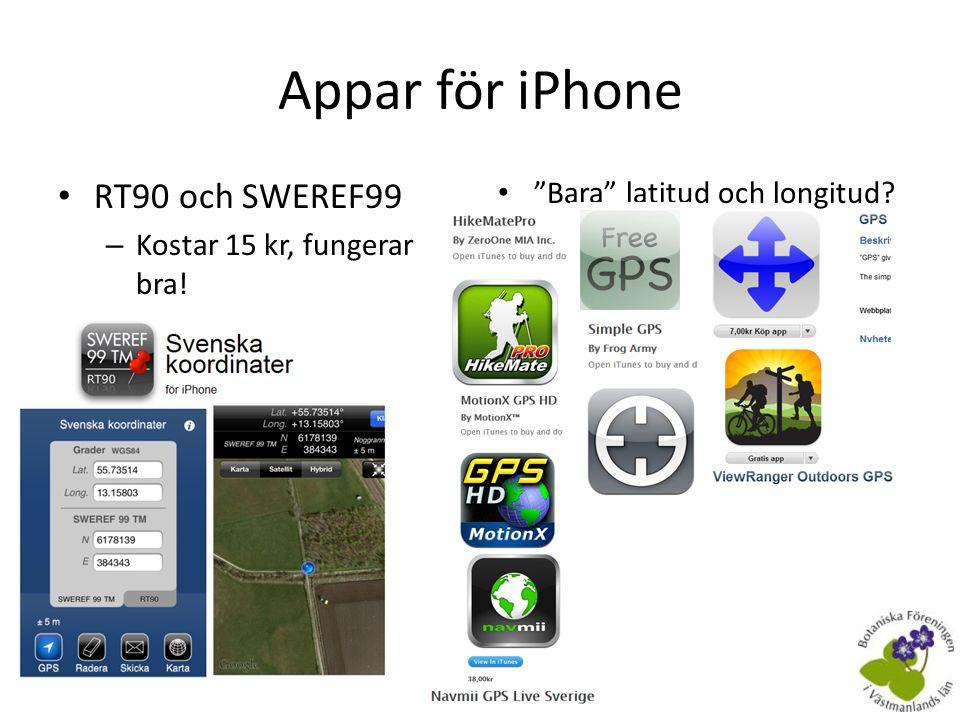 Appar för iPhone RT90 och SWEREF99 Bara latitud och longitud