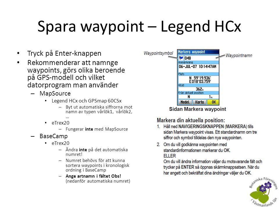 Spara waypoint – Legend HCx