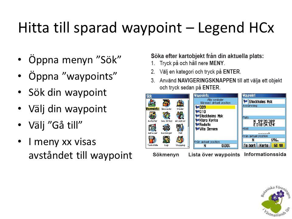 Hitta till sparad waypoint – Legend HCx