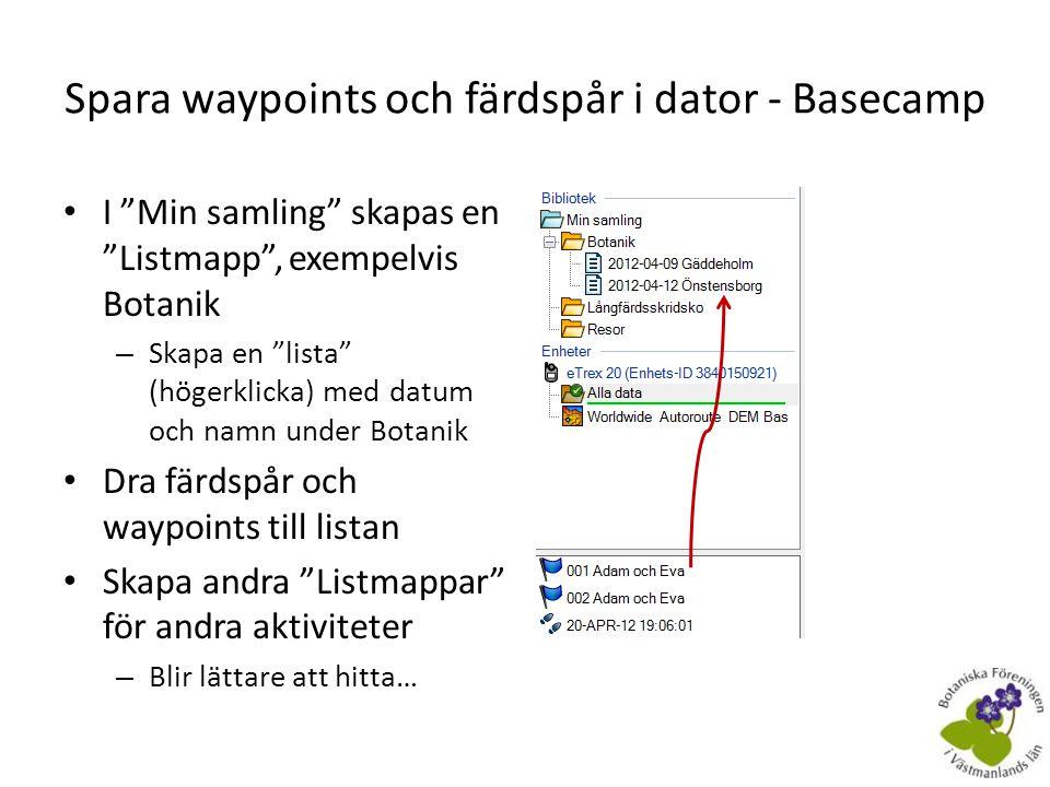 Spara waypoints och färdspår i dator - Basecamp