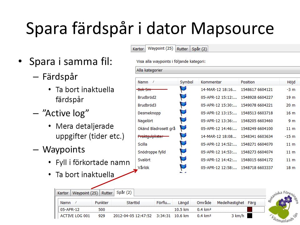 Spara färdspår i dator Mapsource