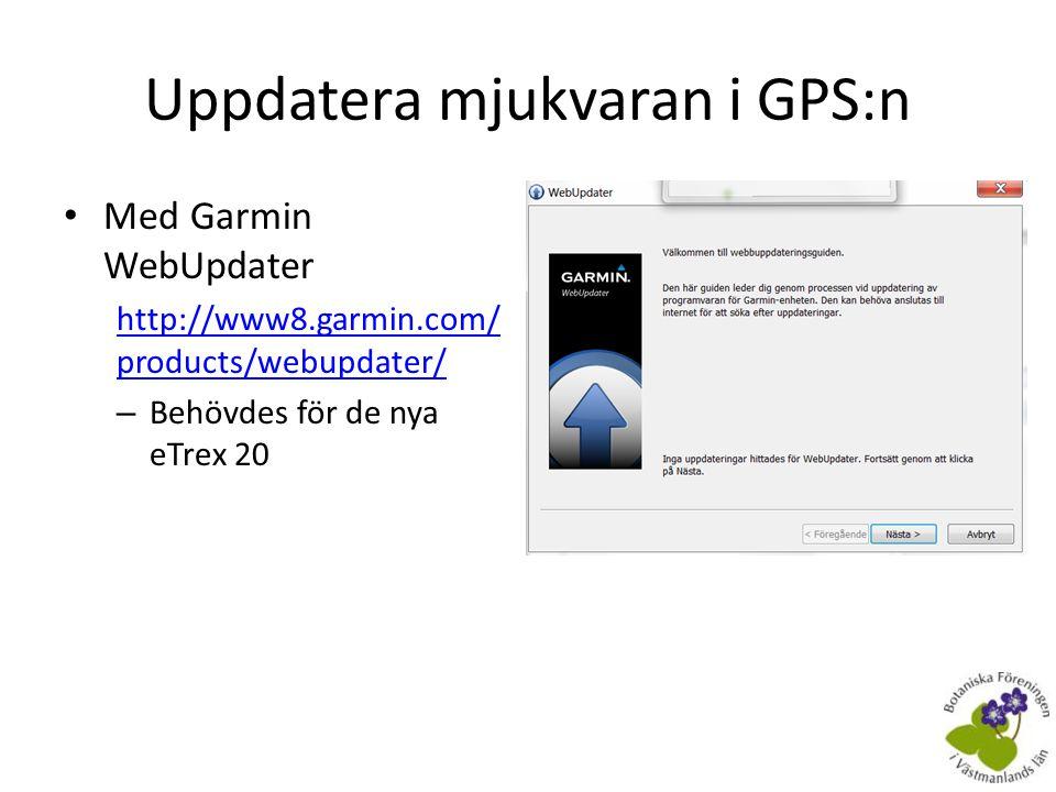 Uppdatera mjukvaran i GPS:n