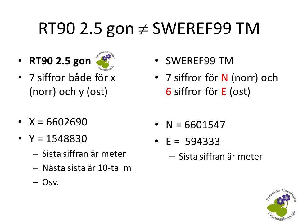 RT90 2.5 gon  SWEREF99 TM RT90 2.5 gon. 7 siffror både för x (norr) och y (ost) X = 6602690. Y = 1548830.