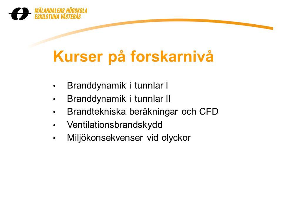 Kurser på forskarnivå Branddynamik i tunnlar I