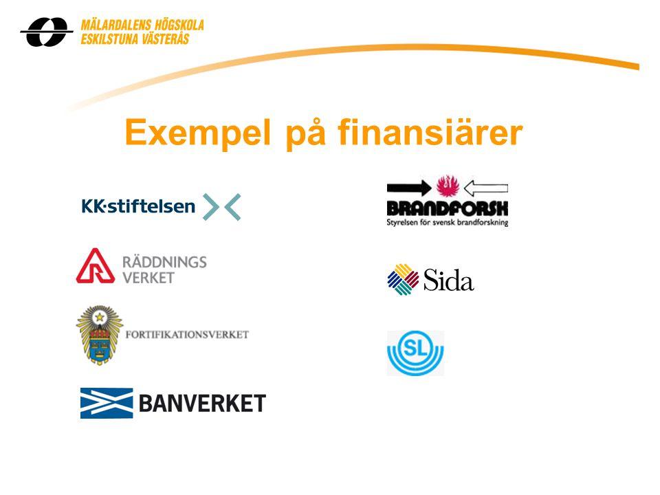Exempel på finansiärer
