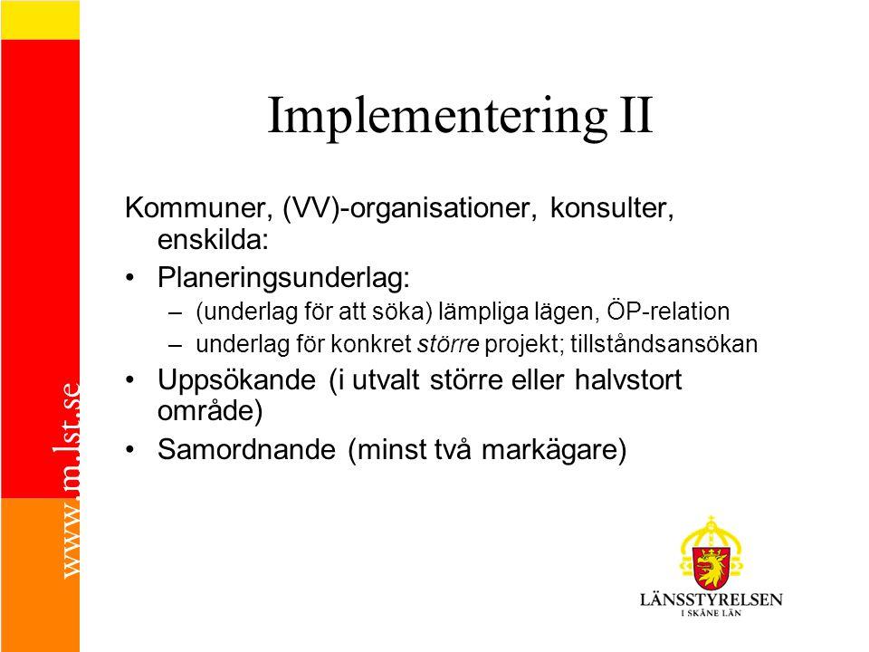 Implementering II Kommuner, (VV)-organisationer, konsulter, enskilda: