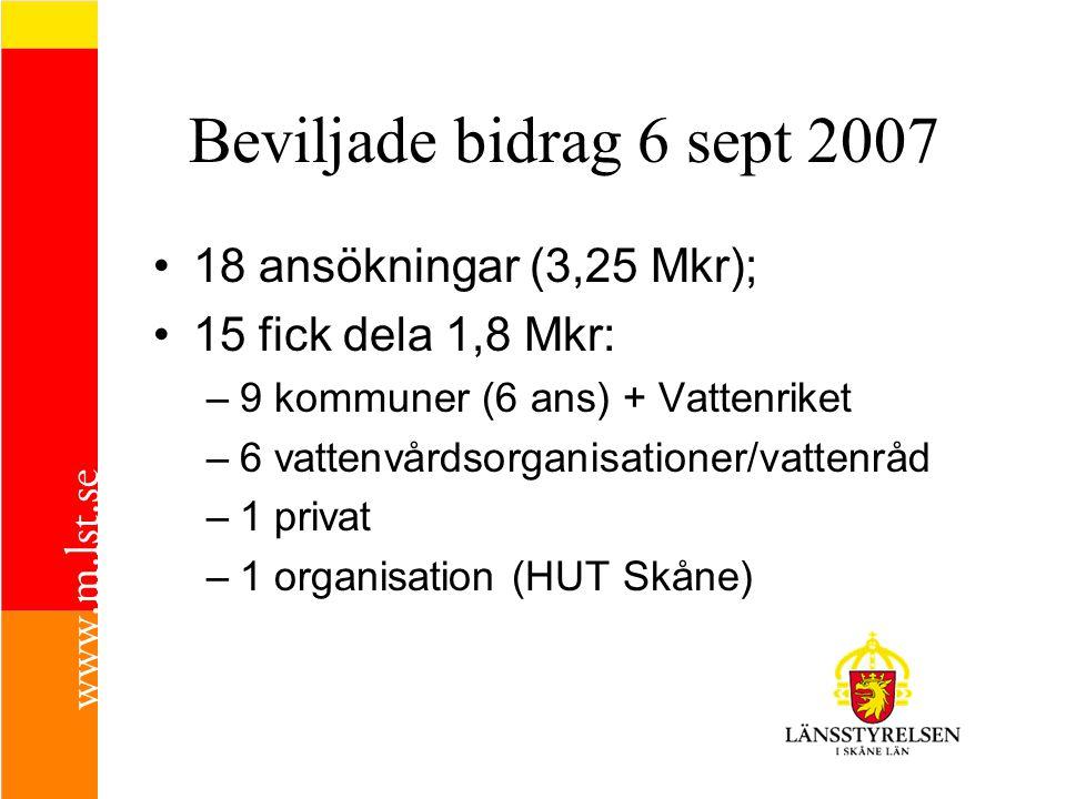 Beviljade bidrag 6 sept 2007 18 ansökningar (3,25 Mkr);