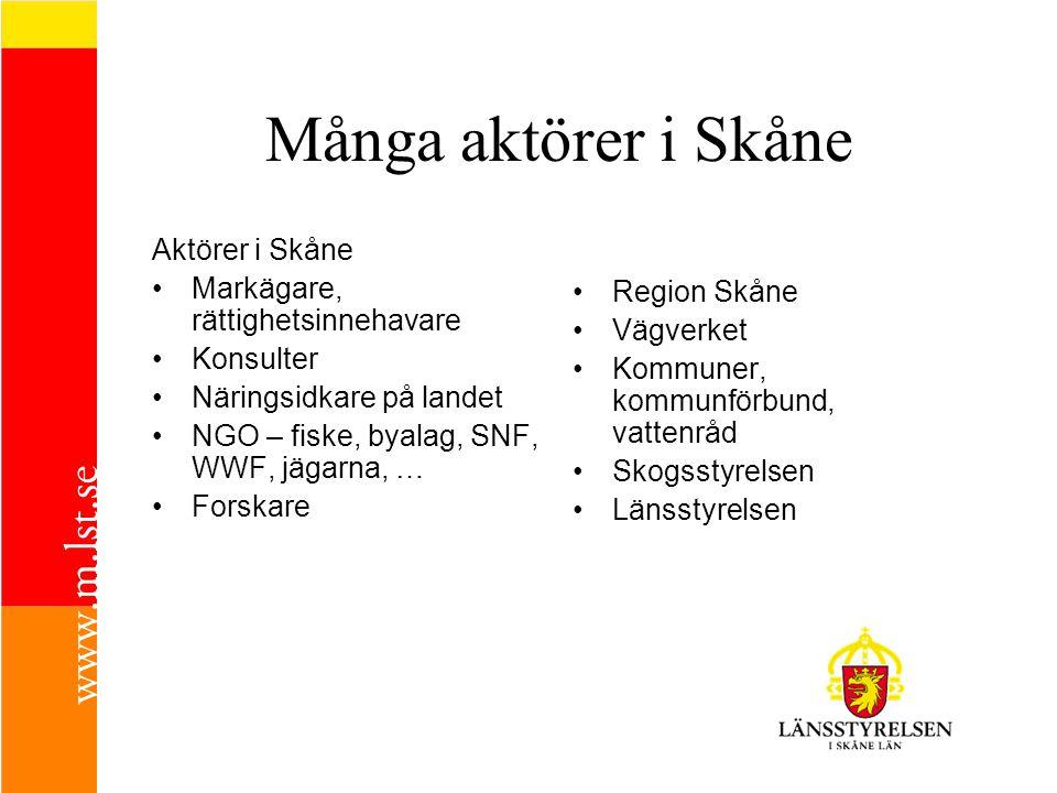 Många aktörer i Skåne Aktörer i Skåne Markägare, rättighetsinnehavare