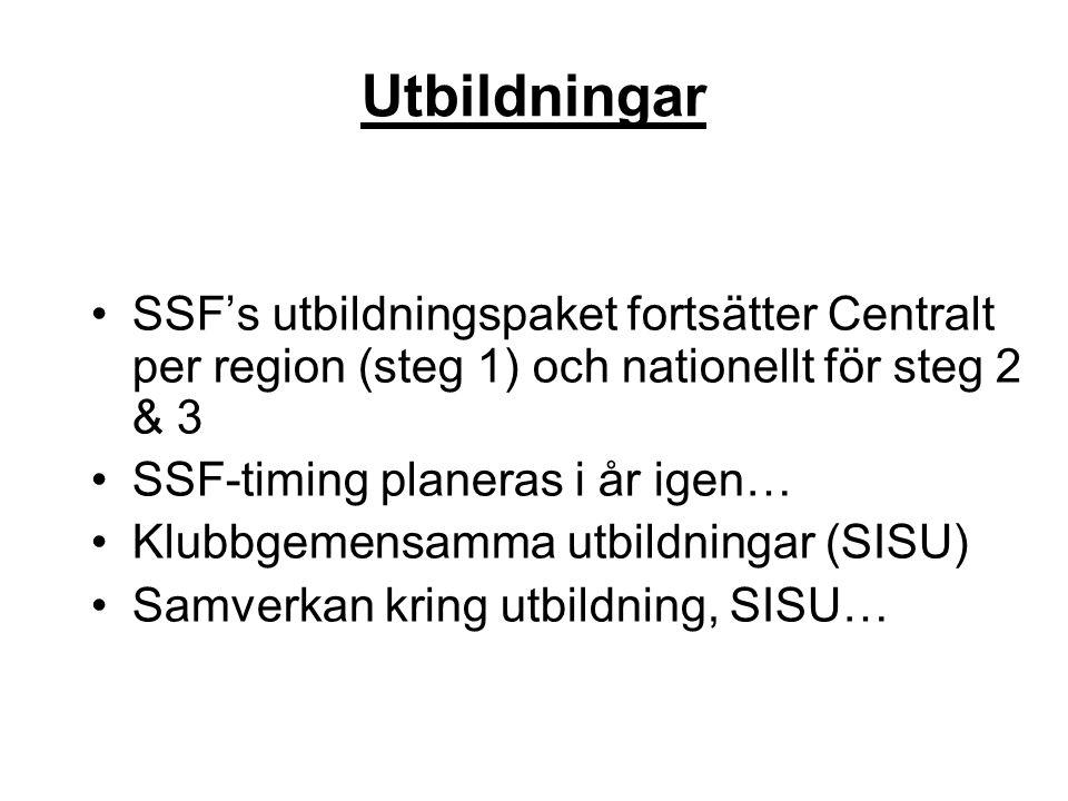 Utbildningar SSF's utbildningspaket fortsätter Centralt per region (steg 1) och nationellt för steg 2 & 3.