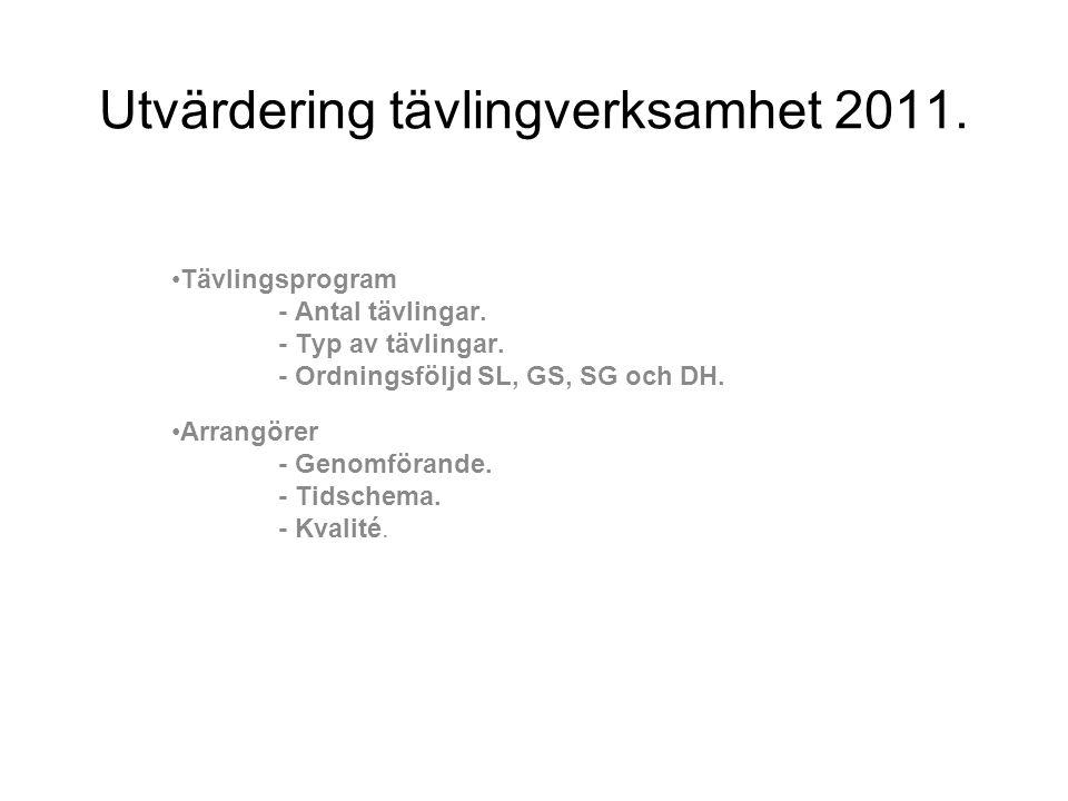 Utvärdering tävlingverksamhet 2011.