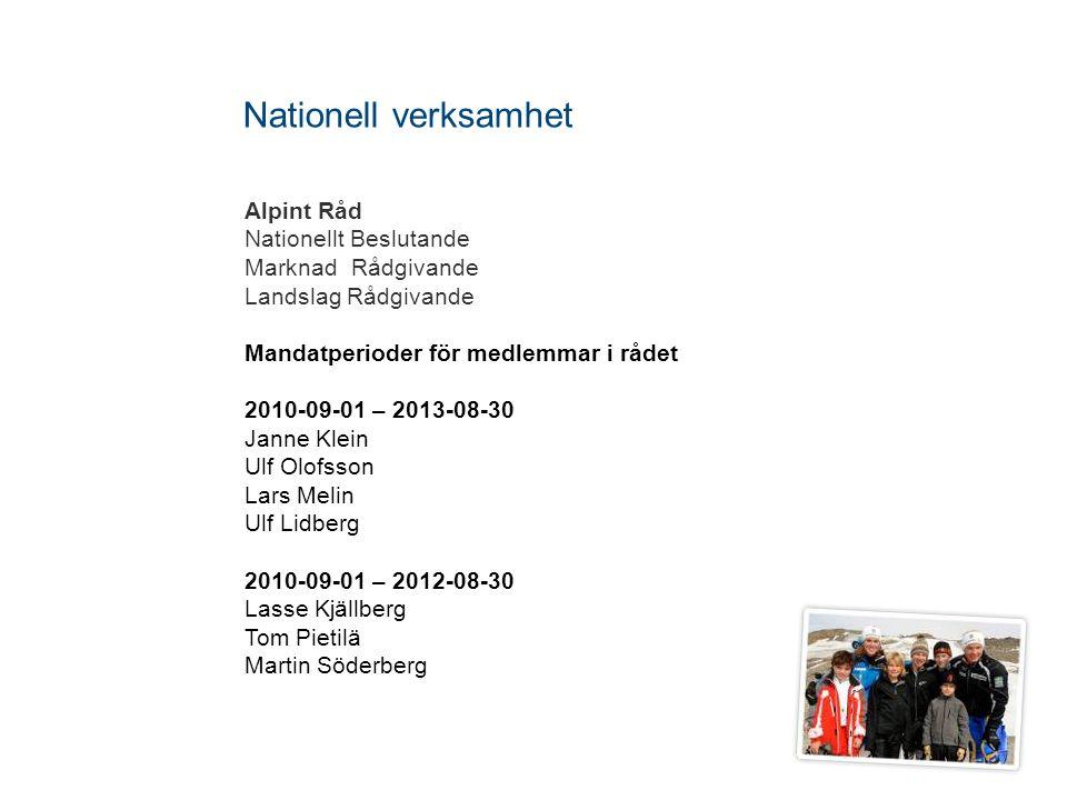 Nationell verksamhet Alpint Råd Nationellt Beslutande
