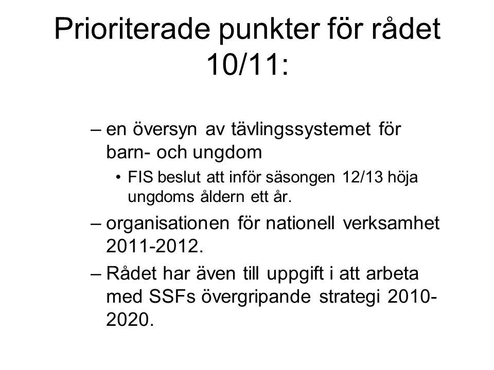 Prioriterade punkter för rådet 10/11: