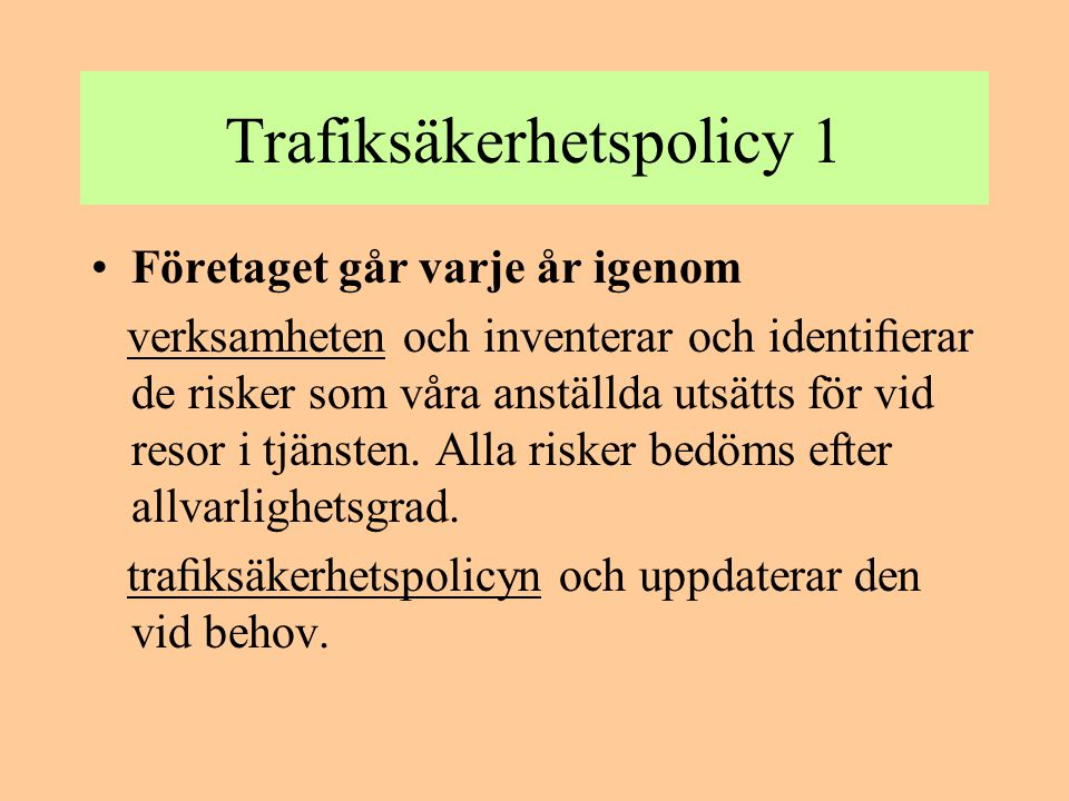 Trafiksäkerhetspolicy 1