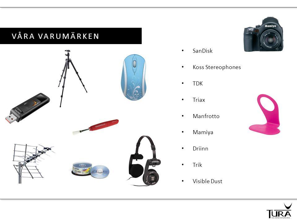 VÅRA VARUMÄRKEN SanDisk Koss Stereophones TDK Triax Manfrotto Mamiya