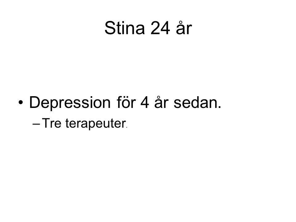 Stina 24 år Depression för 4 år sedan. Tre terapeuter.