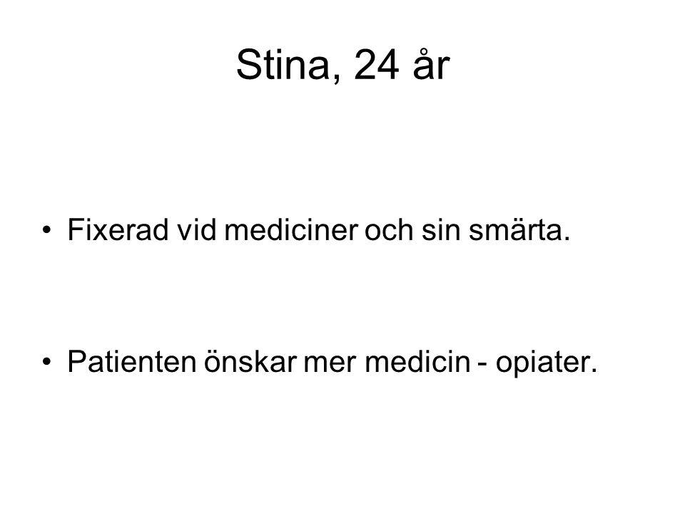 Stina, 24 år Fixerad vid mediciner och sin smärta.