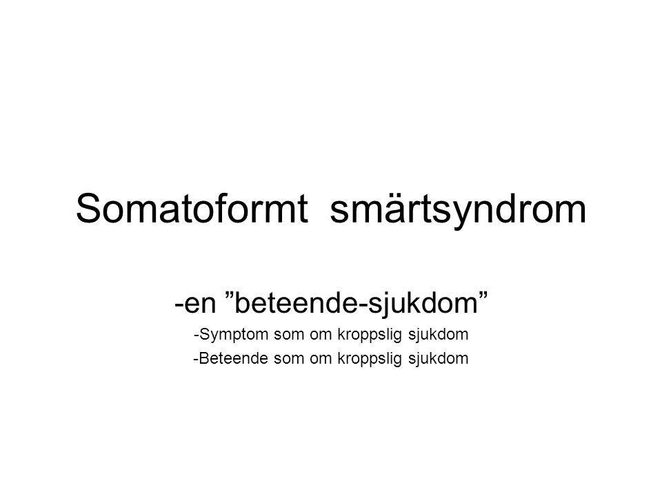 Somatoformt smärtsyndrom