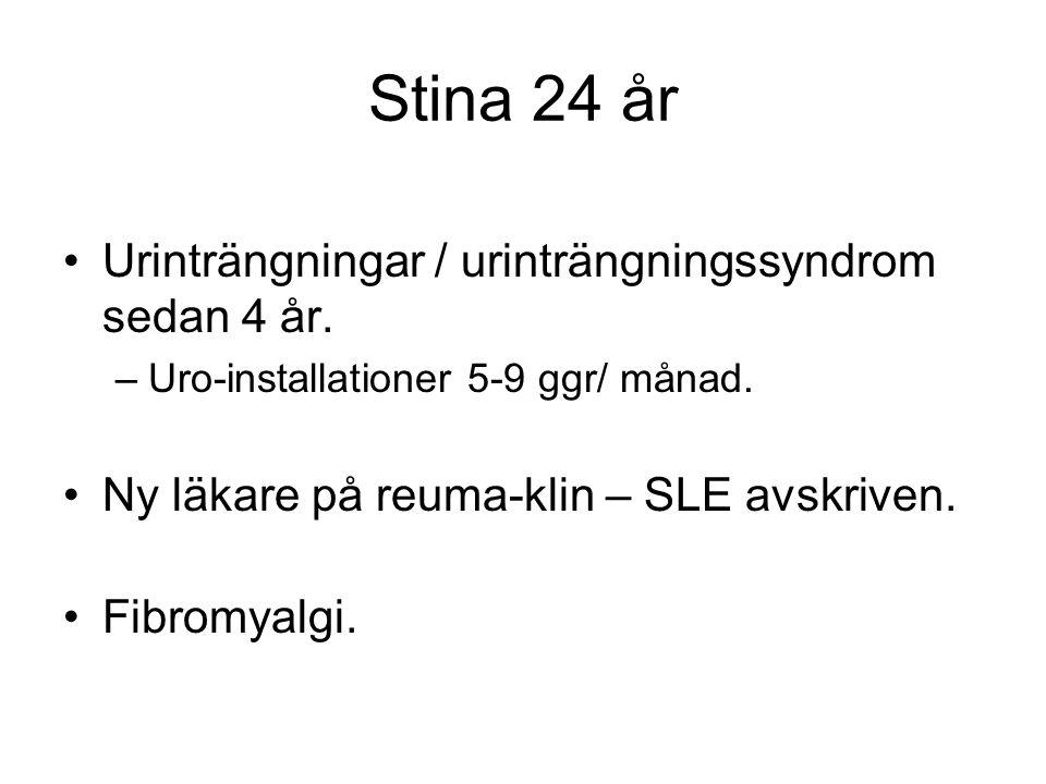 Stina 24 år Urinträngningar / urinträngningssyndrom sedan 4 år.