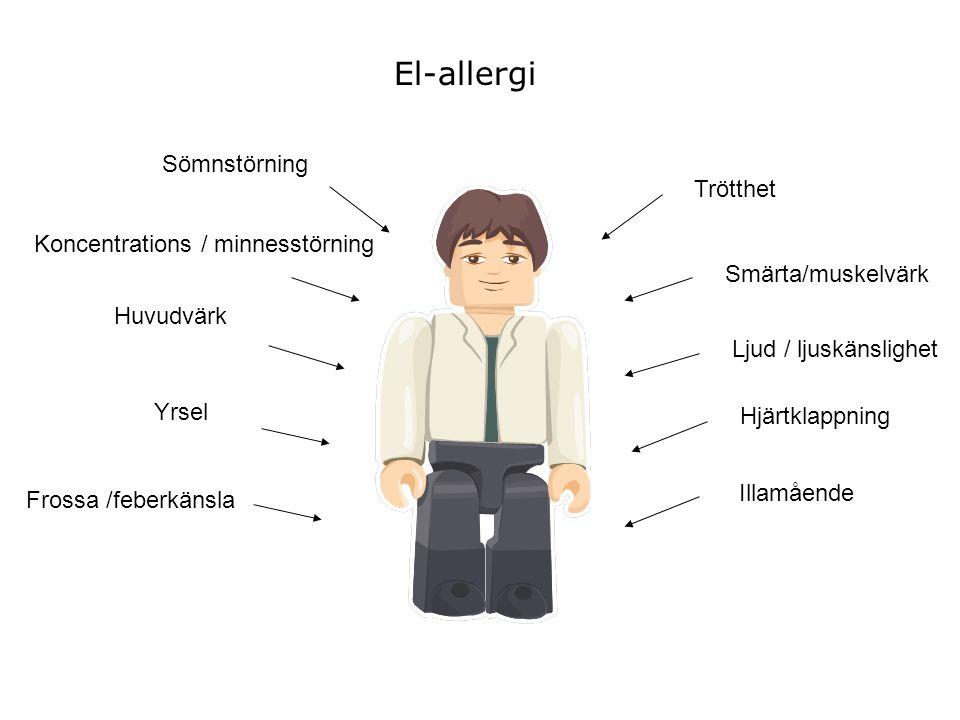 El-allergi Sömnstörning Trötthet Koncentrations / minnesstörning