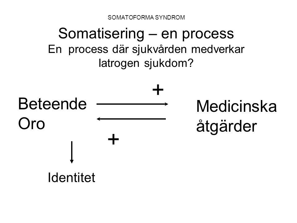 + + Beteende Medicinska Oro åtgärder Somatisering – en process