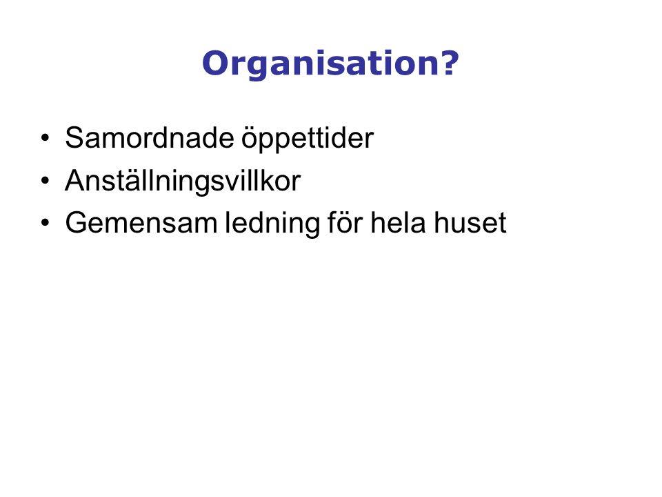 Organisation Samordnade öppettider Anställningsvillkor