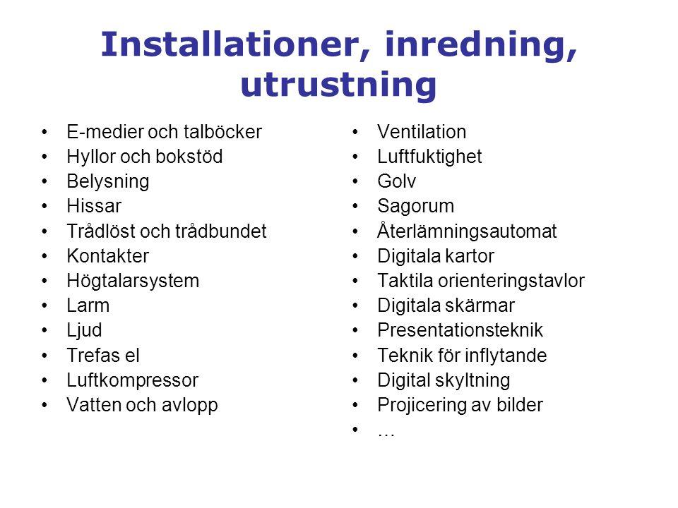 Installationer, inredning, utrustning