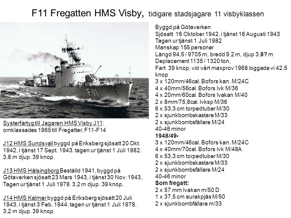 F11 Fregatten HMS Visby, tidigare stadsjagare 11 visbyklassen