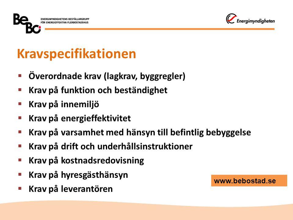Kravspecifikationen Överordnade krav (lagkrav, byggregler)