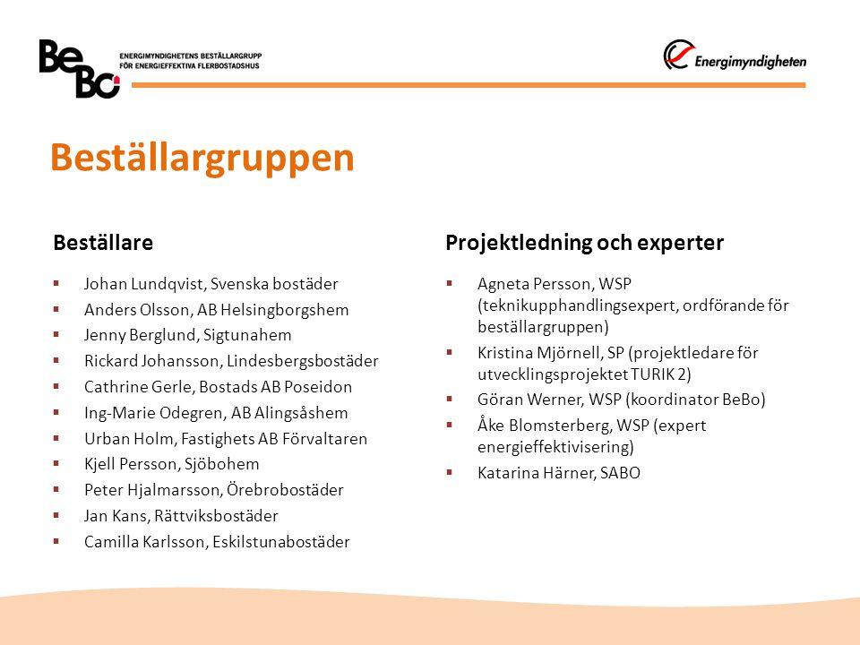 Beställargruppen Beställare Projektledning och experter