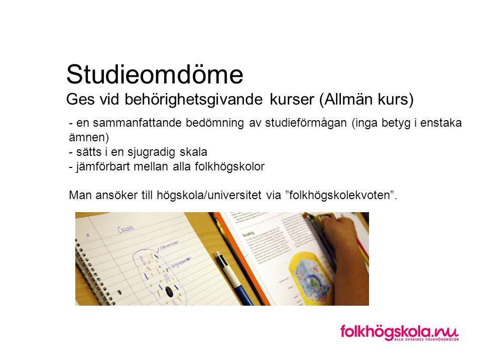 Studieomdöme Ges vid behörighetsgivande kurser (Allmän kurs)