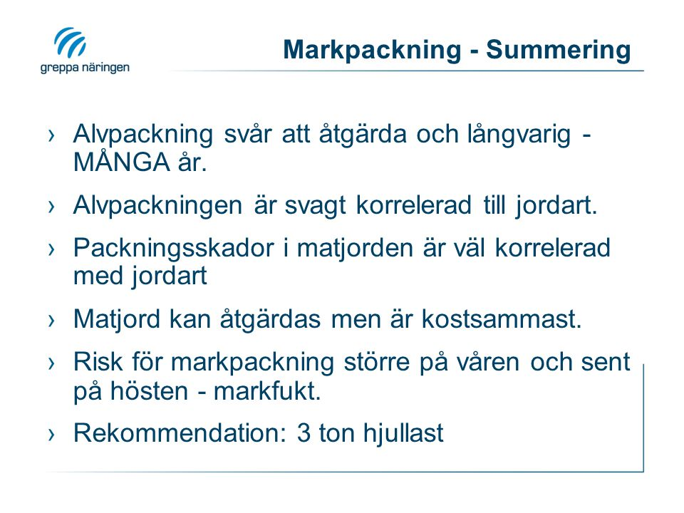 Markpackning - Summering