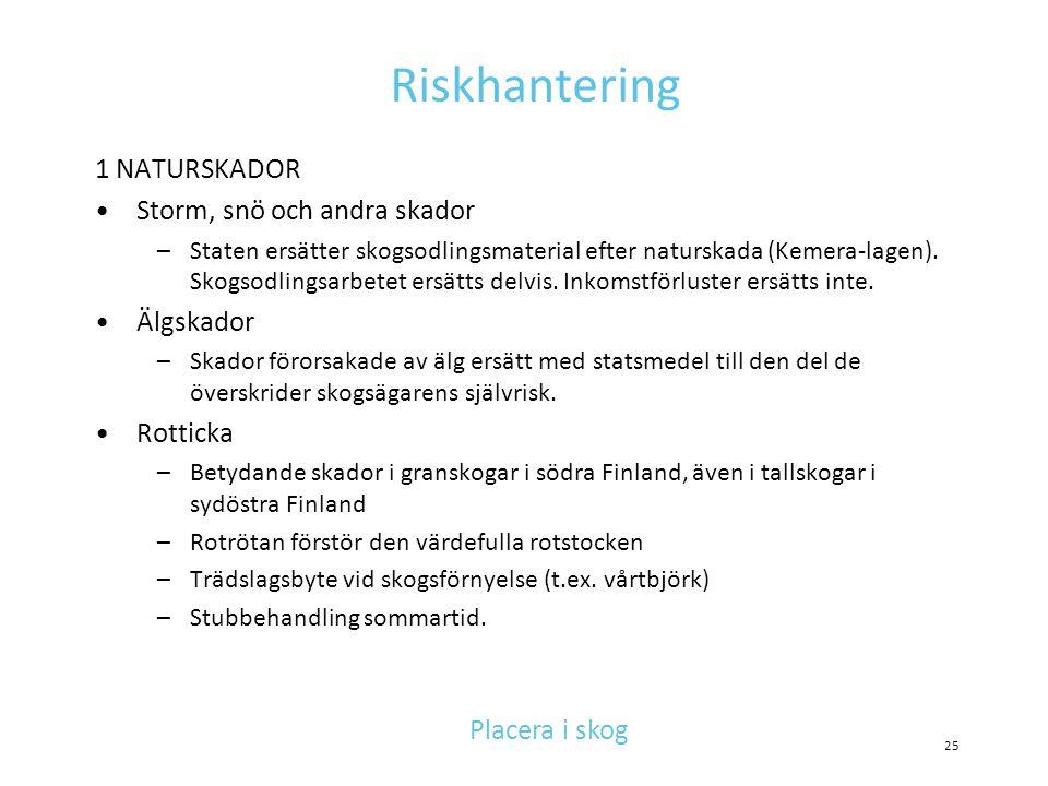 Riskhantering 1 NATURSKADOR Storm, snö och andra skador Älgskador