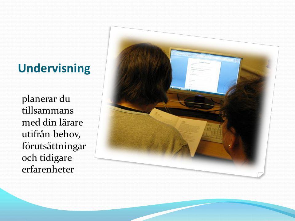 Undervisning planerar du tillsammans med din lärare utifrån behov, förutsättningar och tidigare erfarenheter.