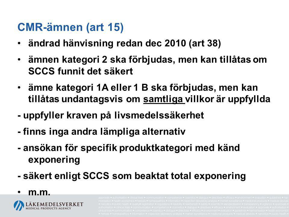 CMR-ämnen (art 15) ändrad hänvisning redan dec 2010 (art 38)
