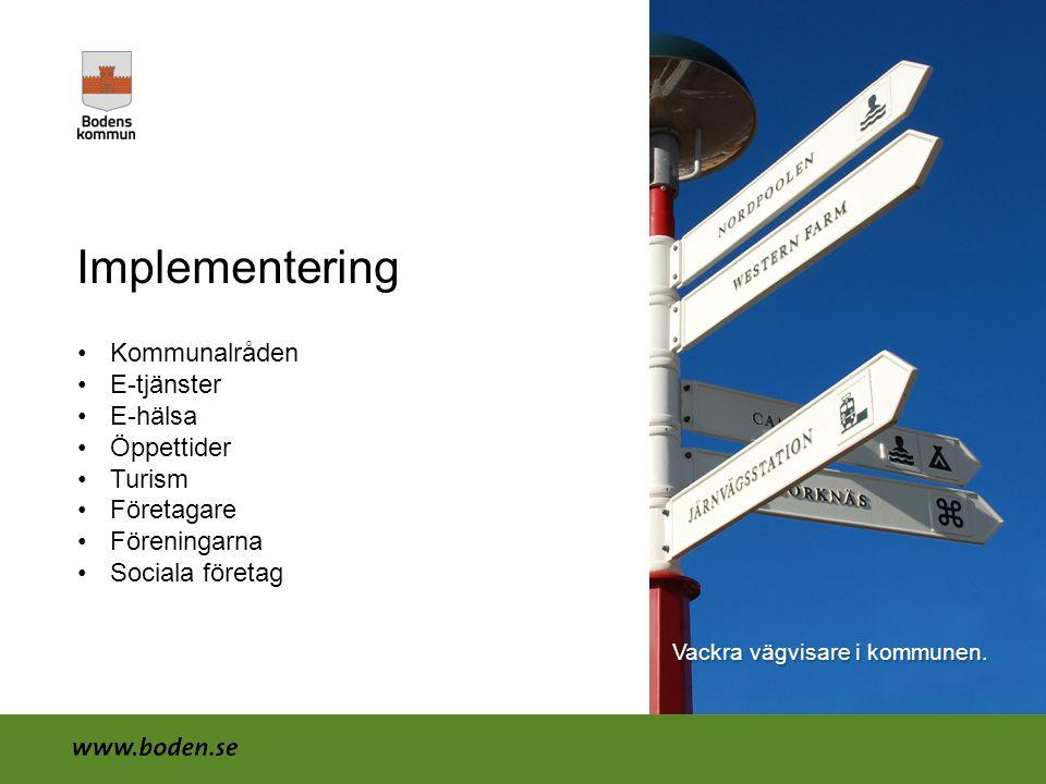 Implementering Kommunalråden E-tjänster E-hälsa Öppettider Turism