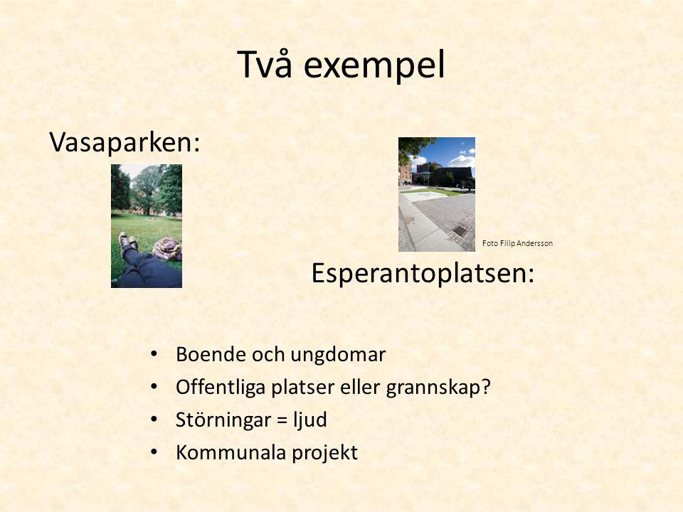 Två exempel Vasaparken: Esperantoplatsen: Boende och ungdomar