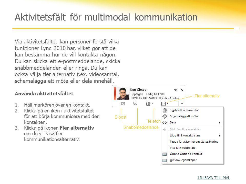 Aktivitetsfält för multimodal kommunikation