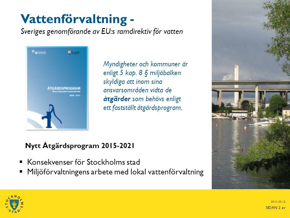 Vattenförvaltning - Sveriges genomförande av EU:s ramdirektiv för vatten