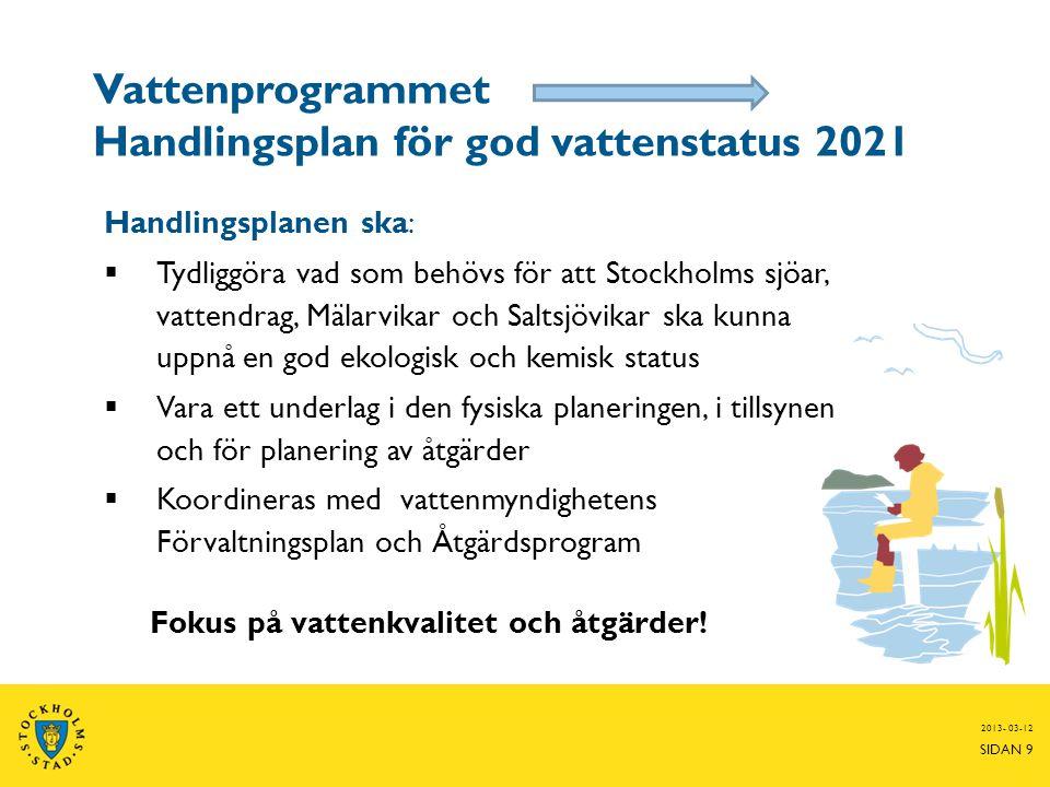 Vattenprogrammet Handlingsplan för god vattenstatus 2021