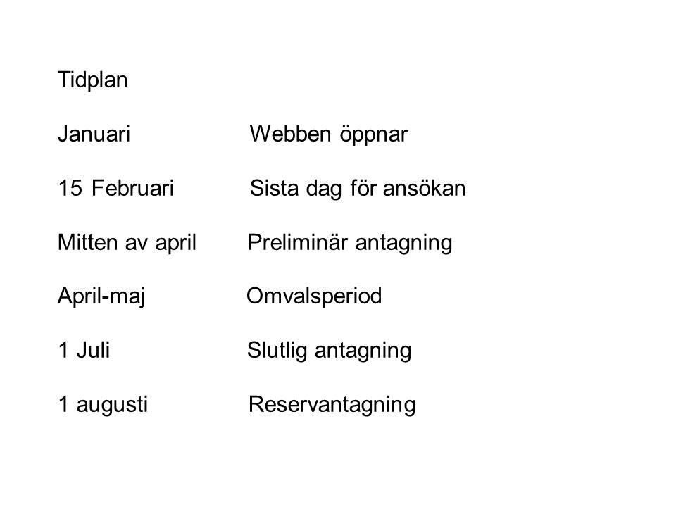 Tidplan Januari Webben öppnar. Februari Sista dag för ansökan. Mitten av april Preliminär antagning.